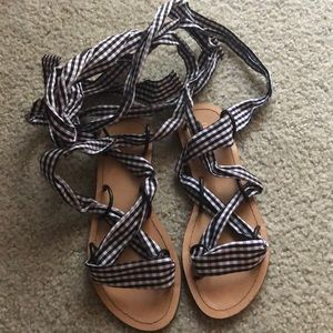 Gingham lace up sandals